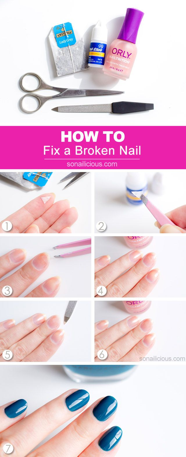 How to fix a broken nail: a genius trick that really works -  http://sonailicious.com/how-to-fix-a-broken-nail/