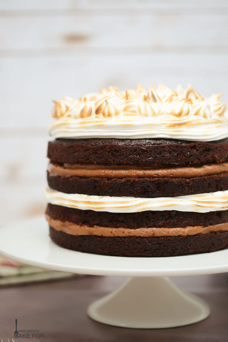 This s'mores cake is a chocolate lovers dream. Get your fork ready for rich chocolate ganache, buttery graham cracker crumbles and gooey marshmallow frosting!