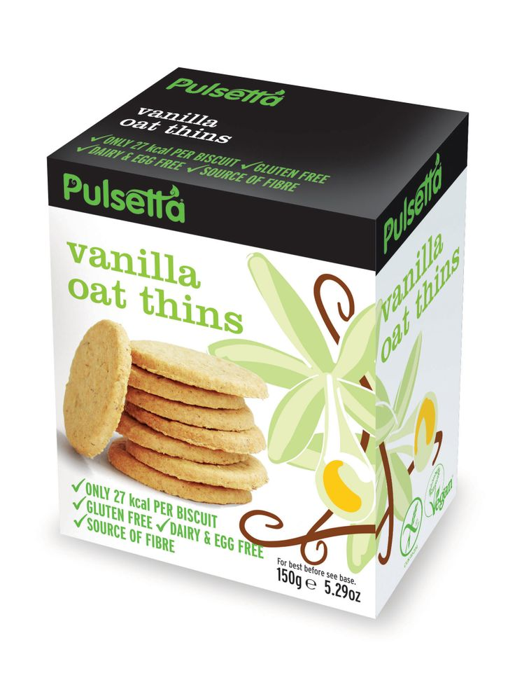 Pulsetta Vanilla Oat Thins are a retro classic in a biscuit. Glutenfree and vegan.