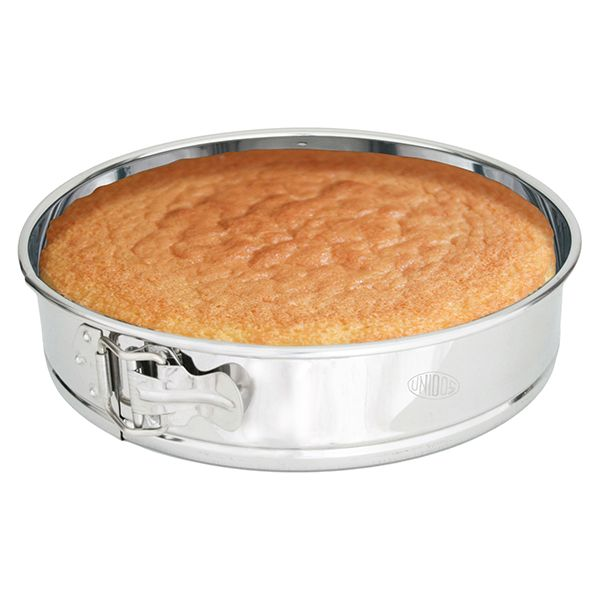Spring cake pan with movable base inox