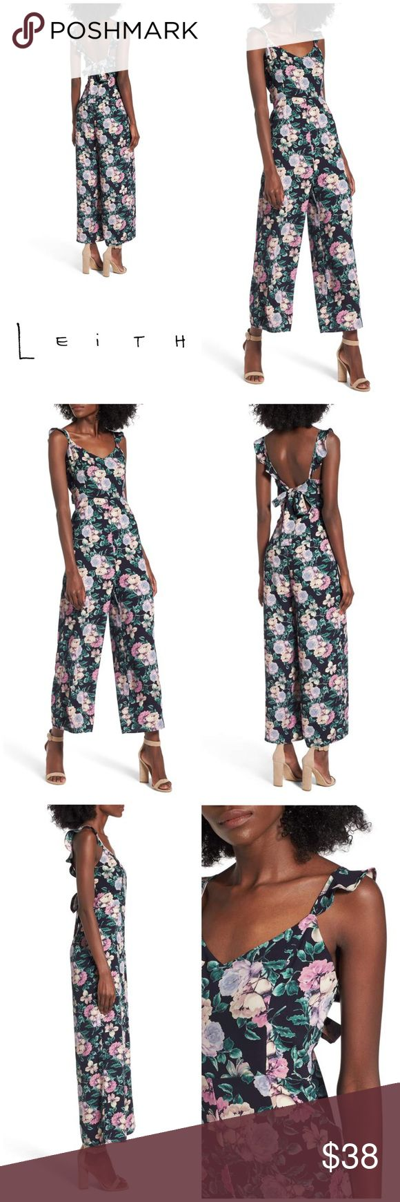 """New LEITH Floral Ruffle Jumpsuit New with tags, LEITH Floral Ruffle Jumpsuit   Size Small Bust: 34"""" Waist: 26"""" Hips: 36"""" Inseam: 24"""" Length: 55""""  Originally bought for a client, I'm currently cleaning out my client closets. Open to offers on bundles. 15% off bundles of 3+. Shipping cost is the same with one or multiple items! New with tags from Nordstrom's Outlet Mall.   Free gift with every purchase! Your purchase goes towards the non-profit organization I'm founding! <3 Leith Pants…"""