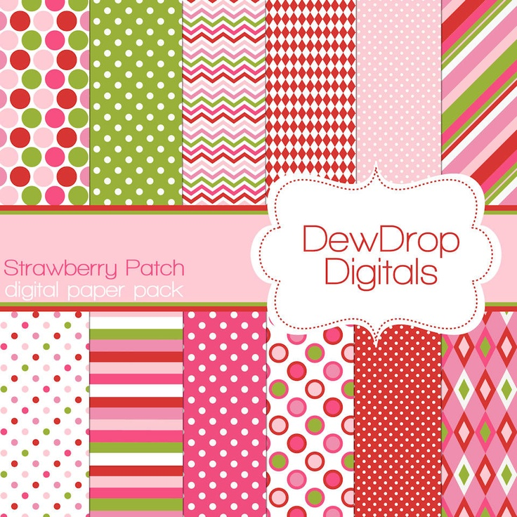 Digital Scrapbooking Paper Pack Fun Scrapbook Papers Kit Strawberry Shortcake green pink white polka dots stripes argyle red. $2.99, via Etsy.