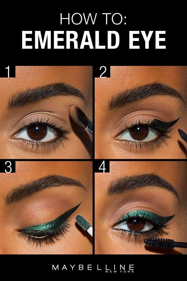 Looking to rock an emerald eye? Try this step by step shows tutorial using beauty hacks. Apply Better Skin Powder under the eyes so that the dark eye shadow fallout will fall onto the powder, then can be brushed off easily without it getting all over your face. For the cat eye use Master Precise Curvy Liner. Next use Color Tattoo Eye Chrome Liquid followed by Great Lash mascara. This look is as versatile and festive, so bust it out for a bold eye look for any occasion, even Halloween makeup!