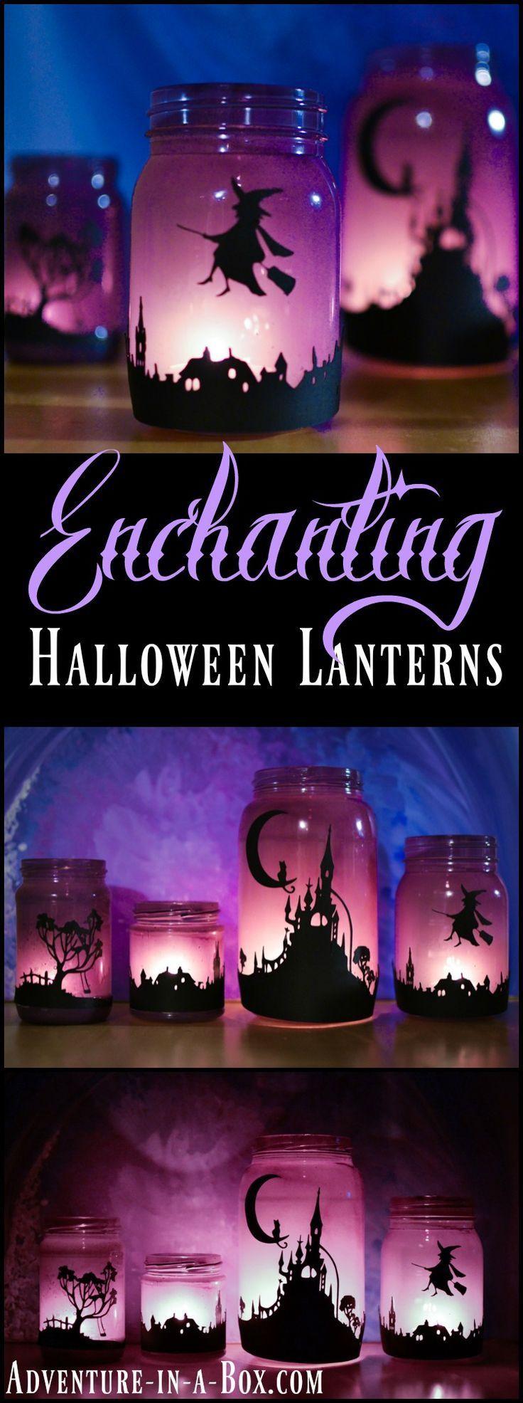 Make a set of enchanting Halloween lanterns from mason jars, suitable for elegant Halloween party decor.
