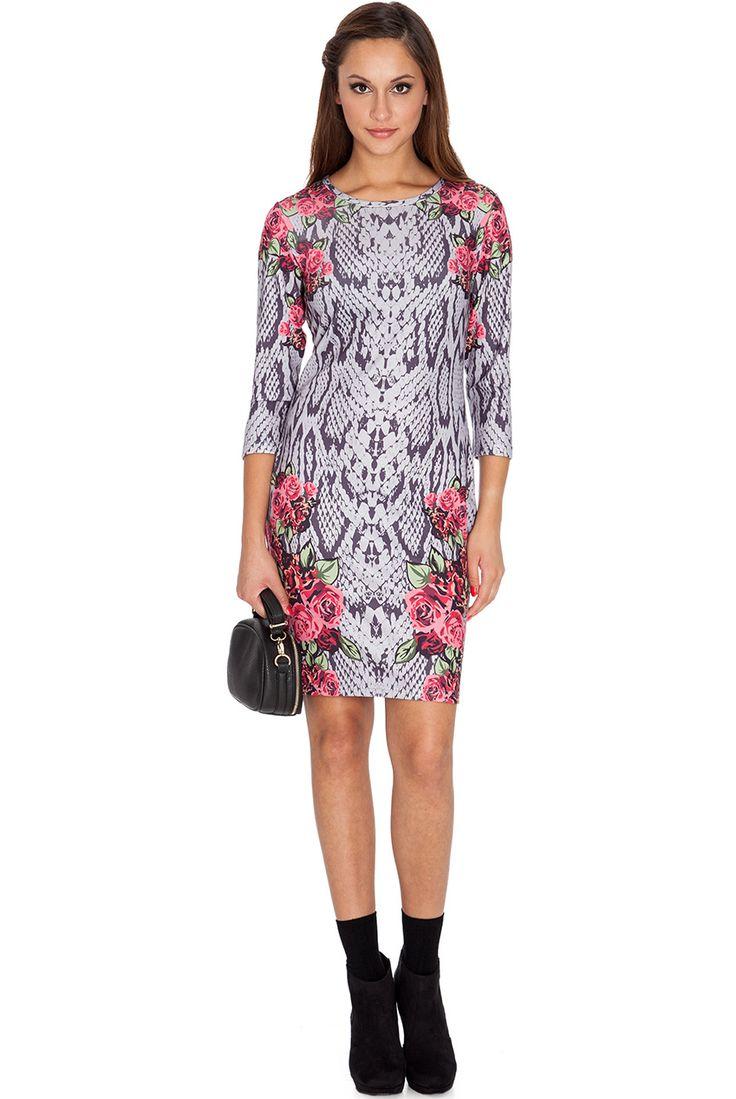 SNAKESKIN ROSE PLACEMENT PRINT DRESS #snakesin #mididress #casualdress #citygoddess #citygoddesswholesale #wholesale #dress #fashion