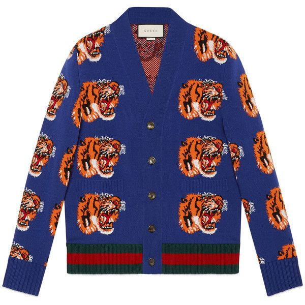 Gucci Tiger Jacquard Wool Cardigan ($1,130) ❤ liked on Polyvore featuring men's fashion, men's clothing, men's sweaters, dark blue, men, new knitwear, ready-to-wear, mens wool sweaters, mens wool cardigan sweaters and gucci mens sweater