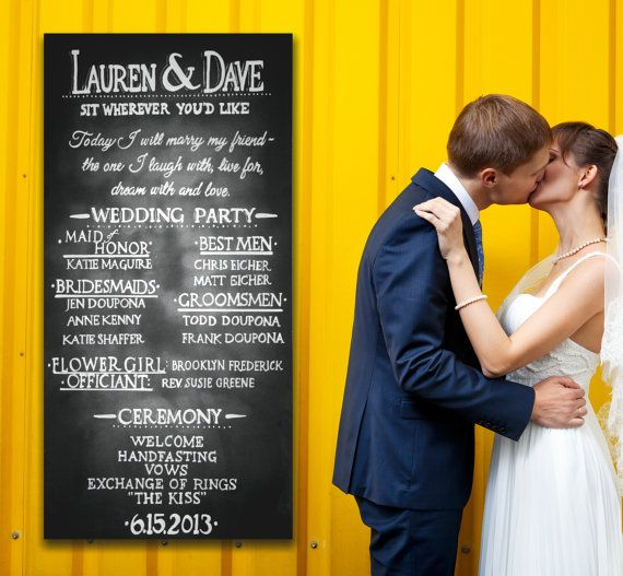 Chalkboard Wedding Program Sign Hand-drawn Custom on Etsy, $40.00