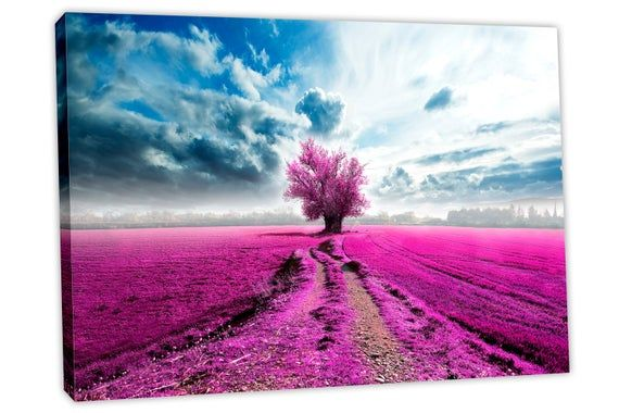 Lone Tree In Field Canvas Print Wall Art Magenta Tree Print Etsy Aesthetic Wallpapers Canvas Print Wall Pink Trees