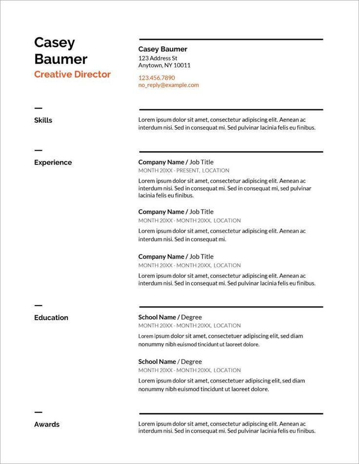 Resume template free CV Templates Minimalist, Simple