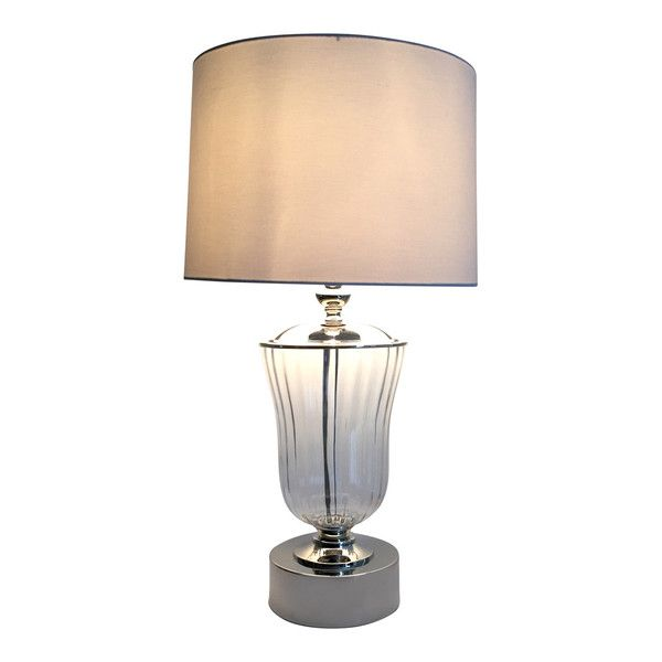 Clear Ribbed Glass/metal Lamp W/white Sh