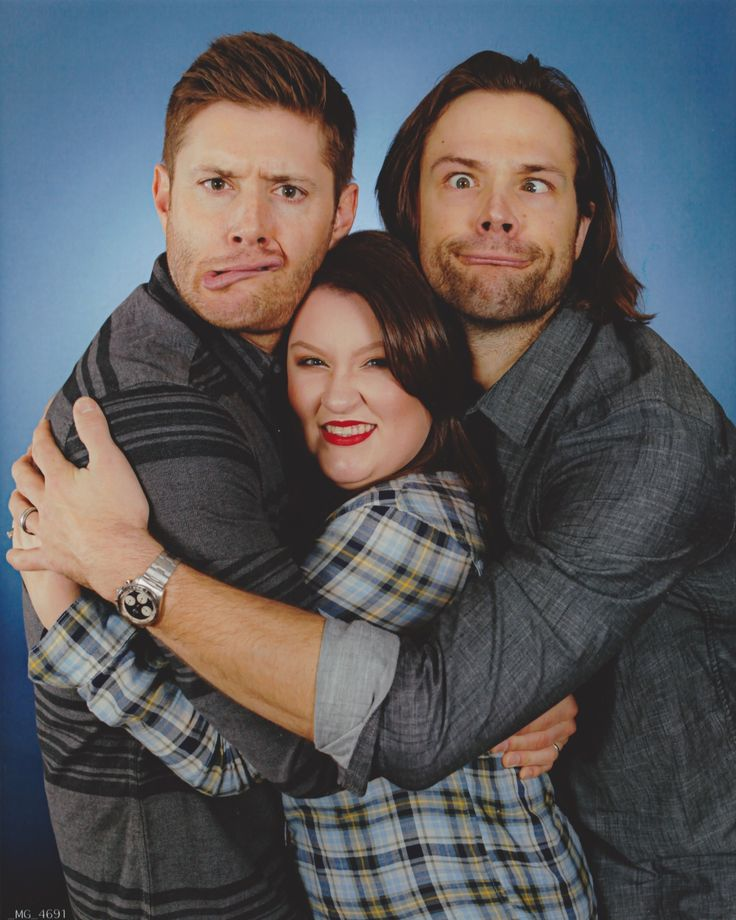 """HousCon15: Jensen was such a doll during this shoot. Well to be honest, both were just dolls. I said hello and looked at them both to say hi, then I got down to business. I looked right into Jensen's fabulous green eyes and said, """"I want to be super squished and I want it to be super silly!"""" To which he replied, """"Absolutely, pick a side!"""" I think about it a second, and turn to squeeze my chubby little arms around Jensen. To which he then squeezes me hard as well (yesssssss) and over my head."""