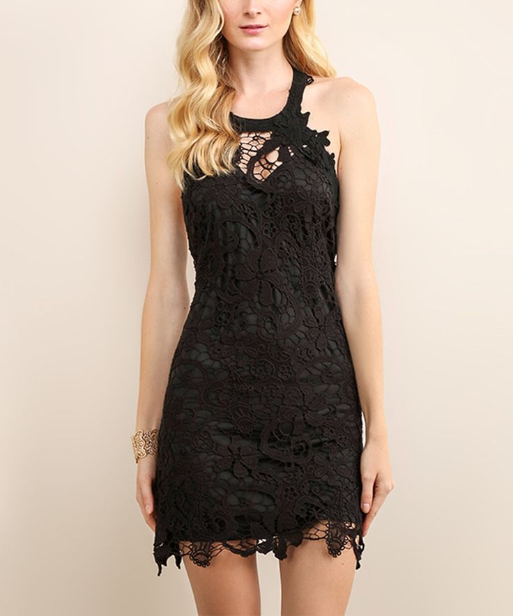 Loving this Soiéblu Black Floral Lace Sleeveless Dress on #zulily! #zulilyfinds