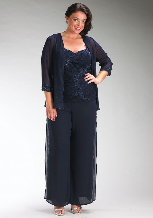 Plus Size Dark Navy Chiffon Three Piece Mother Of The Bride Dress Pants Sets Tthe Suit Pant Suits