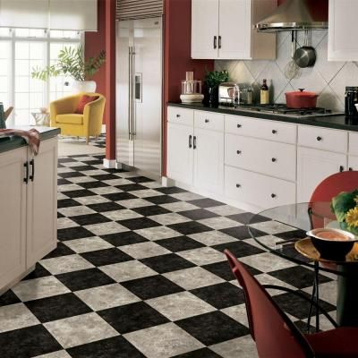 kitchen floor black and white armstrong 12 ft wide caspian ii checkerboard gray vinyl 8067