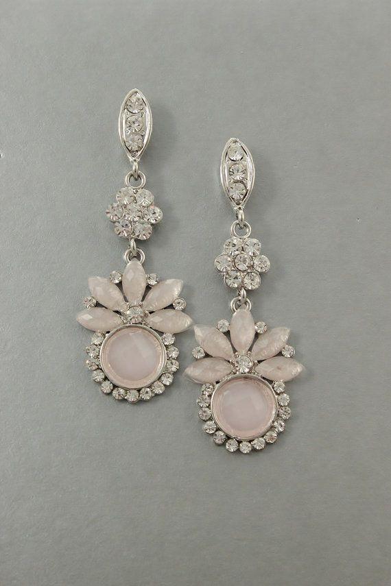 SAMPLE SALE- ROSALIE Bridal Jewelry Chandelier Earring - Blush Pink Beaded Bridesmaid Art Deco Wedding Jewelry Earring- Camilla Christine