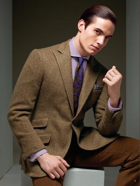 Tan herringbone jacket, purple gingham shirt, paisley tie | Style ...