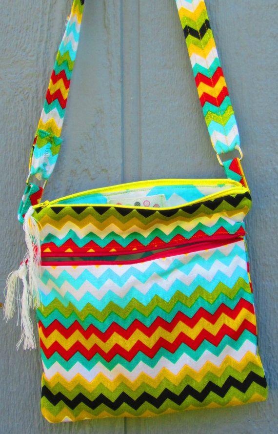 Crossbody Shoulder Bag Hipster Bag  Zipper Bag Over by ClemmieVs