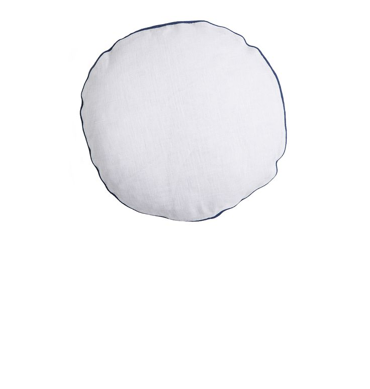 THE CIRCLE LINEN CUSHION - Cloud with Estate Blue Piping. Shop here: http://kateandkate.com.au/shop/collections/the-circle-linen-cushion-cloud-with-estate-blue-piping/ // #exhalebykateandkate #kateandkate #kkcushions #cushion #interior #design #home #bed #bedroom #lounge #inspo #textiles #grey