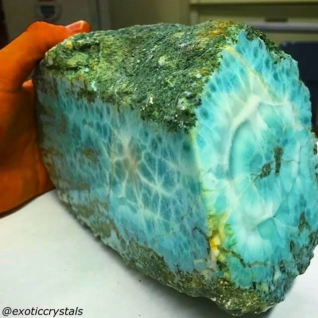 Larimar. Found only in one place, in the Caribbean.