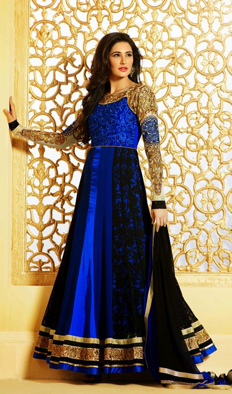Nargis Fakhri Black and Blue Embroidered Long Anarkali Suit Deepen your unfathomable beauty as Nargis Fakhri with this black and blue embroidered georgette satin long Anarkali suit. Beautified with butta, lace, resham and velvet patch work.  #EmbroideredAnarkaliSuit #LatestStylishAnarkaliSuits