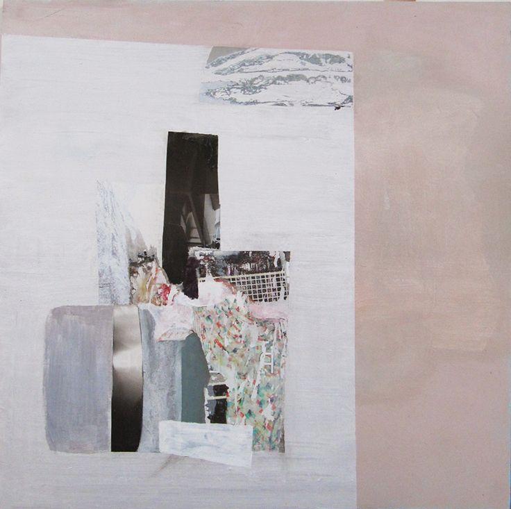 Mari Jäälinoja, Domestic Landscape (Dishes), 2015, acrylic and collage on hardboard, 61x61cm