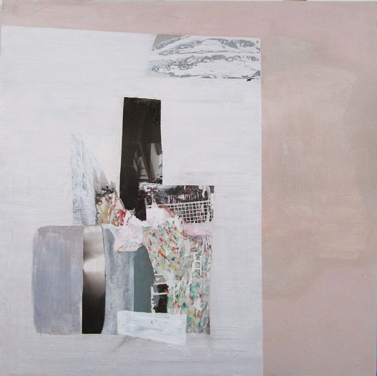 Mari Jäälinoja, Domestic Landscape (Dishes), 2015, acrylic and collage on hardboard, 61x61cm