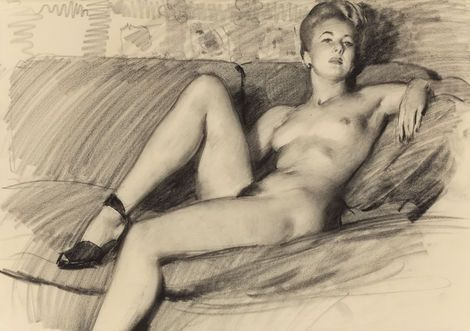 Gil Elvgren (1914-1980), Reclining Nude in Heels on ArtStack #gil-elvgren-1914-1980 #art