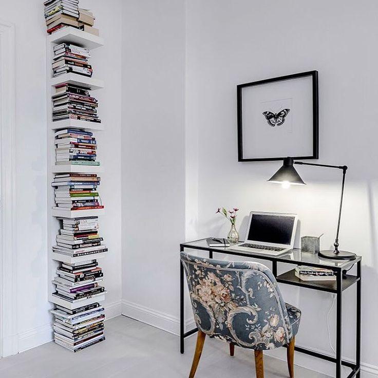 Ikea 'Lack' shelf & 'Vittsjö' desk @magnussonmakleri