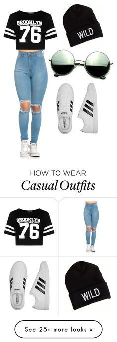 Casual by lanayalarose on Polyvore featuring Boohoo, adidas, Revo and American Eagle Outfitters Más