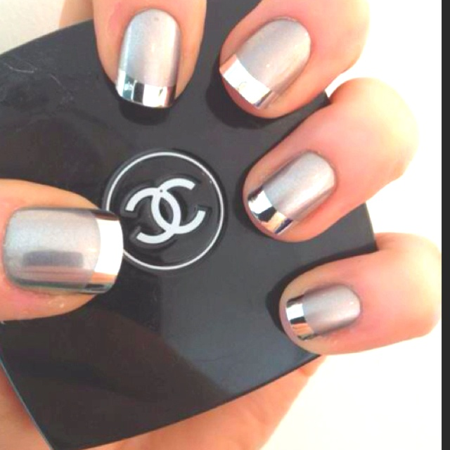 I'm not generally a nail polish fan, but I love this style!: Nails Art, Chanel Nails, French Manicures, Nails Design, Silver Nails, Metals Nails, French Tips, Nails Polish, Chrome Nails