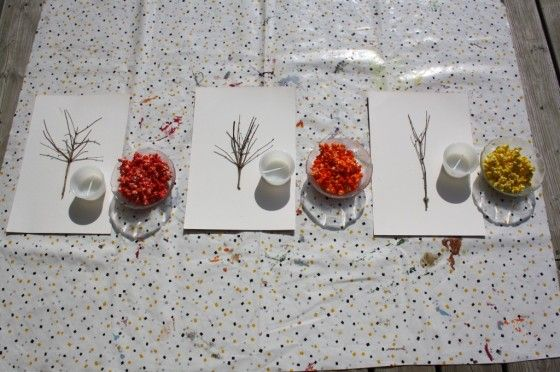 popcorn trees - happy hooligans - fall arts and crafts for kids