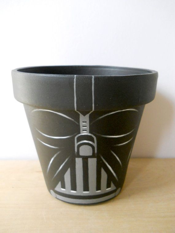 Darth Vader Star Wars Painted Flower Pot by GingerPots on Etsy