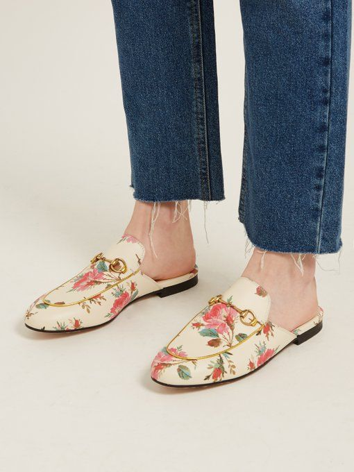 fb5a1751893 Gucci Princetown floral-print backless loafers  women  shoes  footwear   outdoor  shoe