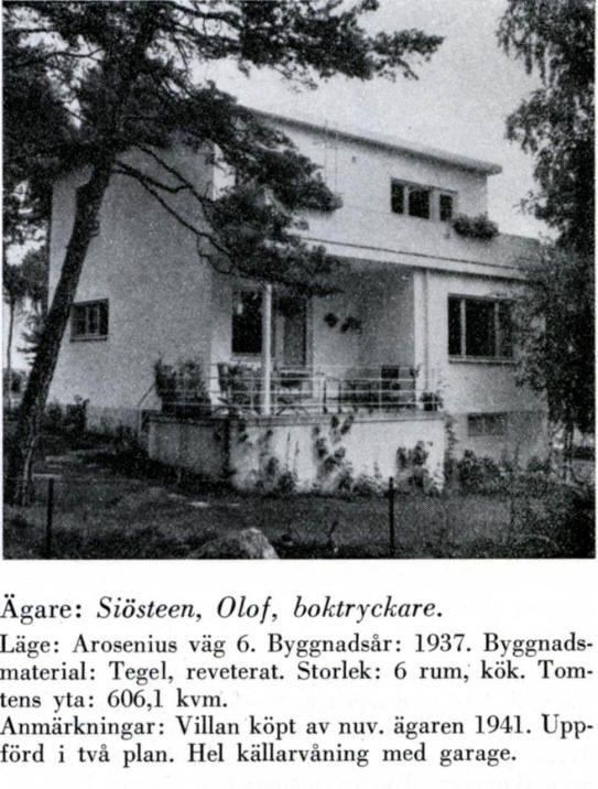 Funkishus med luftigt staket, tallar. Södra Ängby - Aroseniusvägen 6