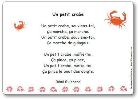 Paroles du jeu de doigts Un petit crabe de Rémi Guichard : Un petit crabe, souviens-toi, Ça marche, ça marche. Un petit crabe, souviens-toi, Ça marche de guingois