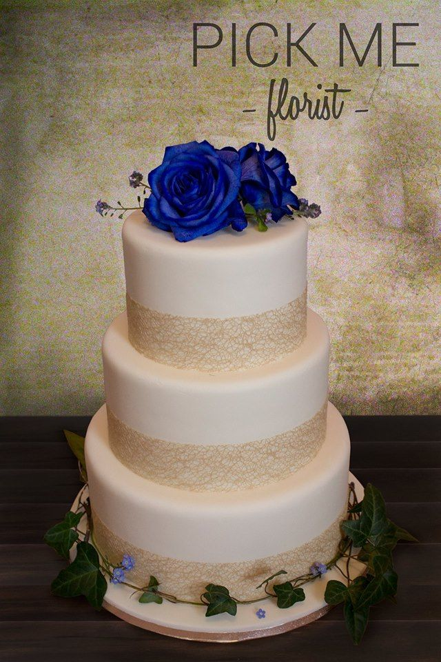 Blue Rose & Ivy cake arrangement by Hannah Stracy at Pick Me, South Wales, UK https://www.facebook.com/PickMeFloristry/
