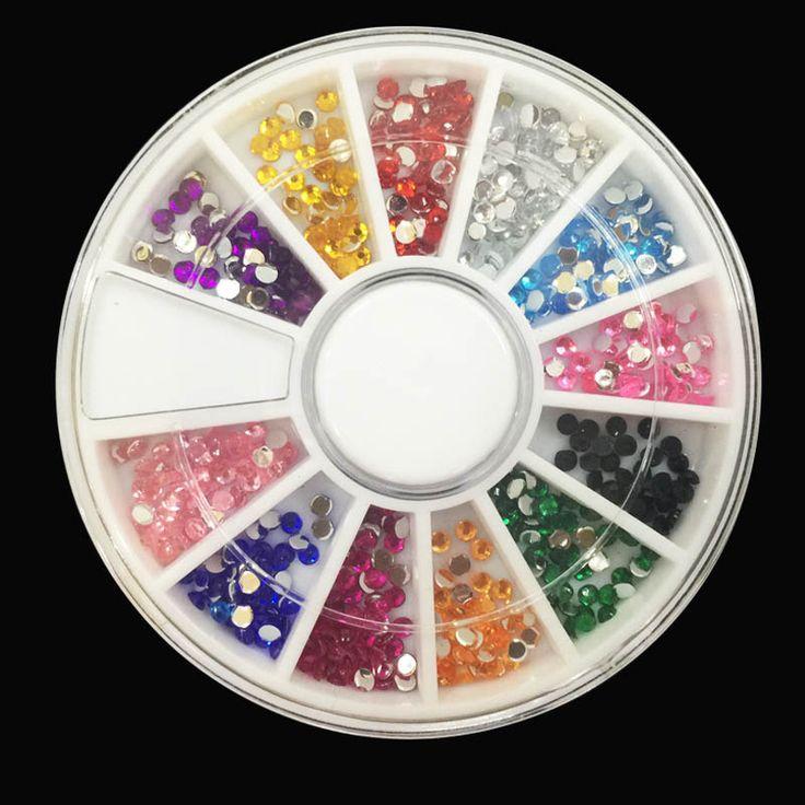 1 Pack Nail Dekorasi Berlian 12 Warna Nail Art Berlian Gemerlap, 3D Nail Art Dekorasi Rhinestones Perhiasan Makeup alat