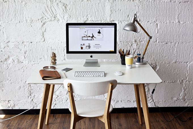 White workspace with iMac - photo by show it better on Creative Market