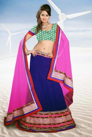 Chic Elegance Royal Blue And Pink Lehenga