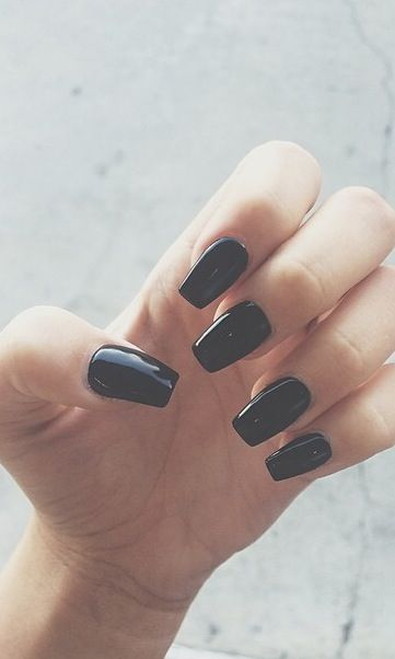 Long black nails, square shaped