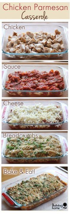 Chicken parmesan casserole. A family favorite that is super easy to make. This real food, healthy dinner recipe is also freezer friendly. |Thriving Home #Freezermeal: