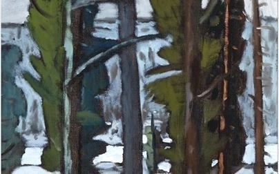 """STANLEY MOREL COSGROVE, R.C.A. LAURENTIAN LANDSCAPE  oil on canvas signed; inscribed """"March 76 T"""" in pencil on the stretcher  24 ins x 20 ins; 61 cms x 50.8 cms  Estimate: $4,000–6,000  Waddington's Auction House http://canadianart.waddingtons.ca/auction/128/lot-135  http://zaidan.ca/Art_Gallery/Cosgrove/Cosgrove_Stanley.htm"""