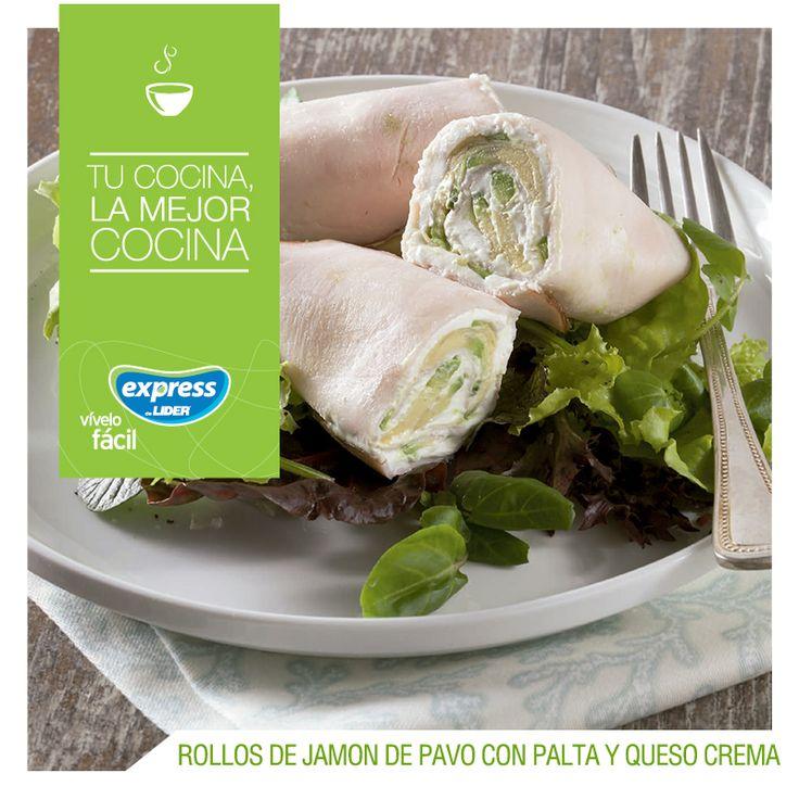 Rollos de jamón de pavo con palta y queso crema #Receta #Recetario #RecetarioExpress #ExpressdeLider #Jamón #Palta #QuesoCrema
