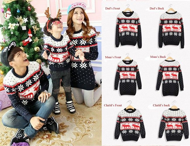 Wholesale parent child Christmas sweaters reindeer/snow flake sweater for men/women/child family matching Christmas sweaters-in Pullovers fr...