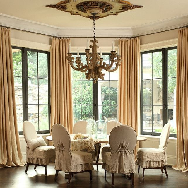 French Dining Room With Round Table And Slipcovered Chairs FrenchDiningRoom