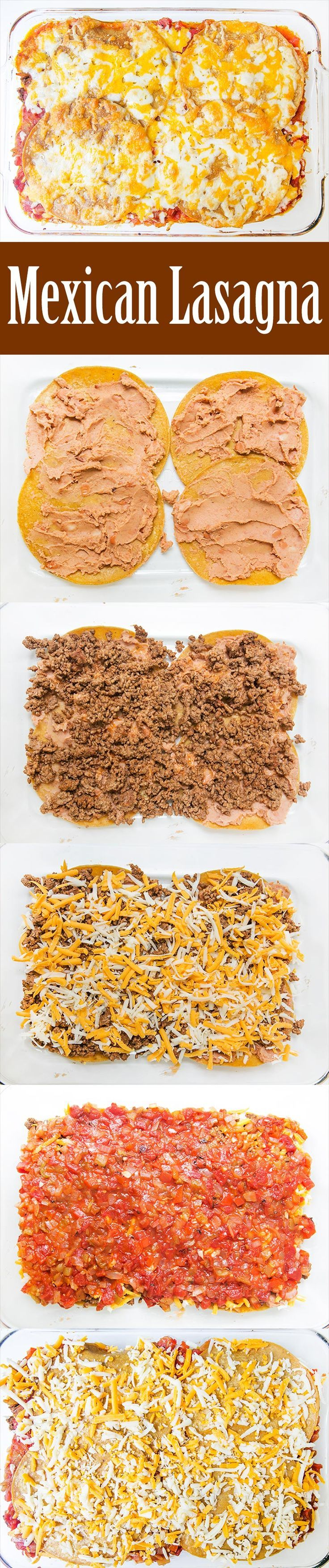 Mexican Lasagna! Also known as Mexican casserole or Stacked Enchilada, this casserole is layered with corn tortillas, ground beef, green chiles, beans, salsa, and cheese. A huge HIT with a crowd! Perfect for a potluck. On http://SimplyRecipes.com