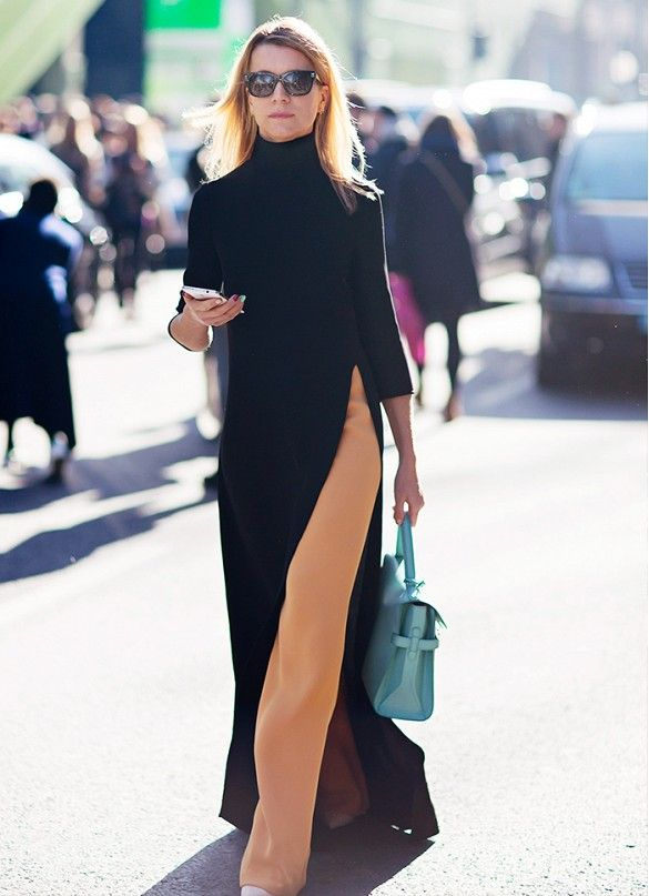 Asymmetrical hems work in your favor. Your legs will look as long as the shortest point on an asymmetrical top or dress.