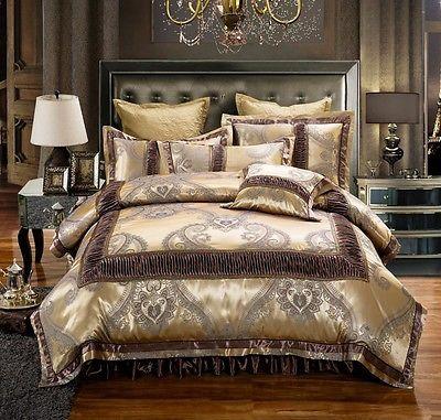 Golden Brown Luxury Jacquard Duvet Cover 6pcs Bedding Set