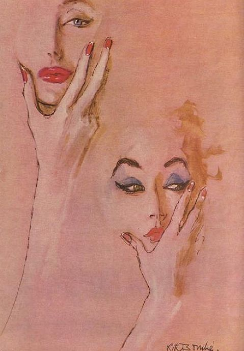 Illustrated by René Bouché for Vogue, 1952.