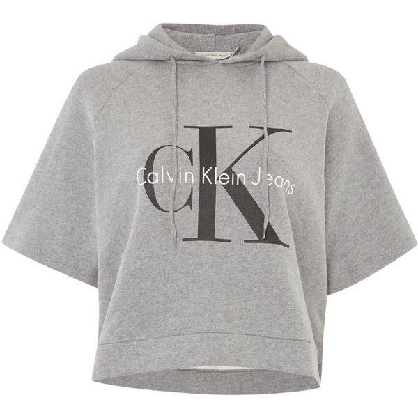 Calvin Klein Short Sleeve Cropped Re-issue Hooded Sweatshirt ($120) ❤ liked on Polyvore featuring tops, hoodies, light grey, women, hooded sweatshirt, hoodie top, crop top, calvin klein tops and short sleeve hooded sweatshirt